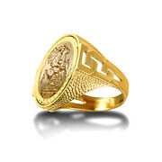 Jewelco London 9ct Gold Curb Links Snake Skin St George Ring Full Sov Size