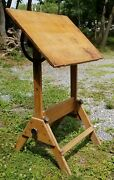 Antique American Industrial Drafting Table Solid Wood Cast Iron Anco Bilt 20th C