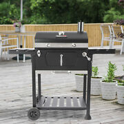 24 Charcoal Bbq Grill With 2 Side Tables In Black, Storage Rack, Weels