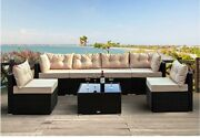 Einfach 7 Pieces Patio Furniture Sets Rattan Conversation Sofa Chair With Glass