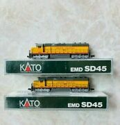 N Scale Kato Union Pacific Sd-45 Diesel Locomotives 3605 And 3633 Pair