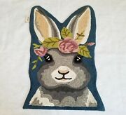 Rare Pier 1 Imports Henry Bunny Rabbit Flowers Tapis Accent Rug W Tags 24 X 36