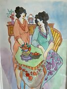 Itzchak Tarkay Hand Signed Watercolor Tea For Two - Frame Is 23 X 29