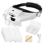 1x To 14x Headband Magnifier With Led Light Handsfree Head Mount Magnifying