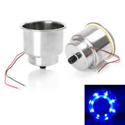 12v Led Blue Stainless Steel Cup Drink Holder Pair For Marine Boat Car Truck