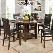 Wooden Round Counter Height Table Brown Wood Finish Americana