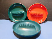 Vintage Ges-line 341 Ashtrays 3pcs Melamine 1bright Red 2 Green Usa Great Cond