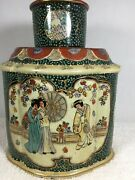Vintage Geisha Moriage Tea Caddy Canister With Lid And Stopper Hand Painted