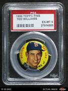1956 Topps Pins Ted Williams Red Sox Psa 6 - Ex/mt