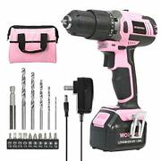 Workpro Pink Cordless 20v Lithium-ion Drill Driver Set 1 Battery Charger And S