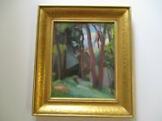 Antique Charles Bischoff Painting Modernism Landscape Expressionism Listed Art