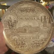 Oklahoma The Sooner State Collectors Souvenir Plate Will Rogers Oil Rigs 1920s