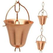 Copper Rain Chain – Decorative Chimes And Cups Replace Gutter Downspout 8.5 Feet
