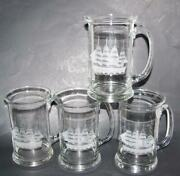 4 Hand Blown Tuscany Beer Mugs Stines Etched Sailing Ships Shcooners
