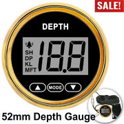 2and039and039 52mm Waterproof Digital Depth Gauge For Car Marine Boat Yacht W/ White Light