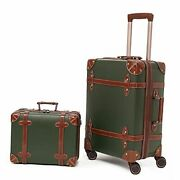 Vintage Luggage Set Of 2 Pieces With Tsa Lock Cute Retro 14inch And 24inch Green