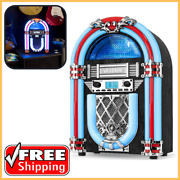 Bluetooth Jukebox With Retro Color Changing Led Light Wood Countertop Nostalgic