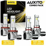 Auxito H11+9005 6500k White Led Combo Headlight High Low Beam Bulbs 48000lm 400w