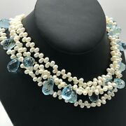 Amazing Genuine Multi-strand Pearl Blue Faceted Crystal 14k Gold Necklace