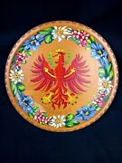 German Eagle Hand Painted Carved Wall Display Wooden Plate