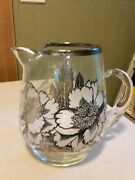 Vintage Clear Glass Pitcher With Sterling Silver Floral Overlay With Ice Lip