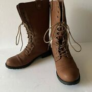 Com's Womens Boots Leather Shoes Brown Mid-calf Lace Up Troupia 02 Size 8.5 Euc