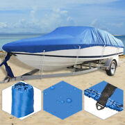 17and039-19and039 210d Oxford Waterproof Trailerable V-hull Boat Cover 96 Beam Blue