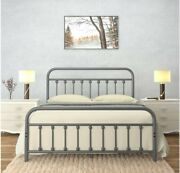 Vintage Queen Metal Bed Frame With Headboard And Footboard Platform/wrought Iron