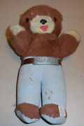 """Vintage Ideal Smokey The Bear Fire Fighter Plush Toy 14"""" With Belt Buckle"""