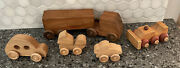 Vtg Lot Of Wooden Handcrafted Toy Cars Trucks Vehicles Usa Vermont