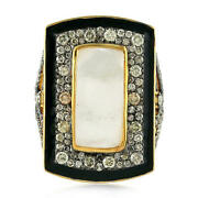 Natural Mother Of Pearl Diamond Gemstone 925 Sterling Silver Womens Ring Jewelry