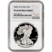 2005-w American Silver Eagle Proof - Ngc Pf69 Ucam - Large Label