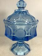 Vintage Fostoria Coin Ice Blue Glass Crystal Pedestal Compote Candy Dish W Lid