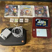 Nintendo New 3ds Xl System-red-001 W/8 Games,case,stylus,4gb Sd Card, Tested
