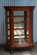 Antique Carved Oak China Cabinet With Curved Glass Griffins And Claw Feetandnbspandnbsp