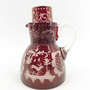 Rare Antique Czech Ruby Red Cut To Clear Decanter Glass Set Stag Dog Hunt Scene