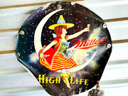 1979 Miller Beer High Life Paper Moon Witch Halloween Vintage Advertising Poster