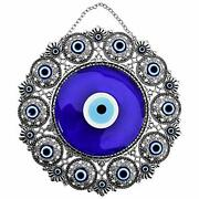 Turkish X-large Glass Blue Evil Eye Wall Hanging Ornament With Round Xx-large