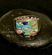 Native American Jewelry. Handcrafted Hopi Multi-stones Ring. Sizes 10-13