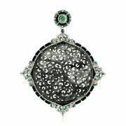 Natural Jade Diamond Gemstone Solid 925 Sterling Silver Womens Pendant Necklace