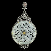 Natural Carved Jade Diamond Gemstone 925 Sterling Silver Womens Pendant Necklace