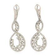 Natural Pave Diamond 925 Sterling Silver Christmas Womens Drop Dangle Earrings