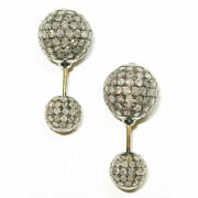 Natural Diamond 925 Sterling Silver Christmas Womens Double Sided Stud Earrings