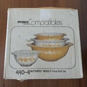 Vintage Pyrex Butterfly Gold Cinderella Nesting Mixing Bowl Set Of 4 New Unused