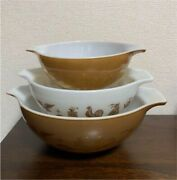 Vintage Pyrex Early American Cinderella Nesting Mixing Bowl Set Of 3 Antique