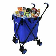 Easygo Cart Folding Grocery Shopping And Laundry Utility Cart – Removable Blue