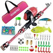 Kids Fishing Pole Portable Telescopic Fishing Rod And Reel 1.2m 3.94ft Pink