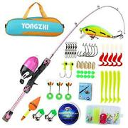 Kids Fishing Poleportable Telescopic Fishing Rod And Reel Combowith Pink