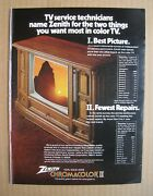 1975 Zenith Tv 100 Solid State Chromacolor Ii Color Ad