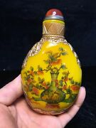 Peking Glass Painted Snuff Bottle Painting Pet Flower Yellow Carving Gilding